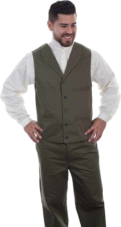 Scully Men's Herringbone Vest Green S REG
