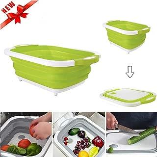 3 in 1 Folding Cutting Board Multi-Function Foldable Cutting Board with Drain Basket Dish Tub with Draining Plug Portable Wash and Drain Sink Storage Basket