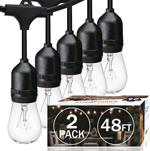 SUNTHIN 2 Pack 48FT Outdoor String Lights with 11W Dimmable Edison Bulbs for Decorative Backyard, Patio, Bistro, Perg...