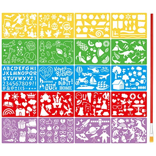 21 Pcs Drawing Painting Stencils Set for Kids, Plastic Painting Template Over 300 Different Patterns with 1 Pcs Painting Brush for Crafts Template for Girls Boys Gift
