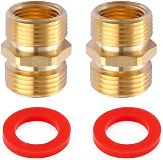Litorange (2 Pack Industrial Metal Brass Garden Hose to Pipe NPT Fitting Connect, Green Thumb Quick Swivel Connector Adapter,Double Male Thread Size GHT 3/4