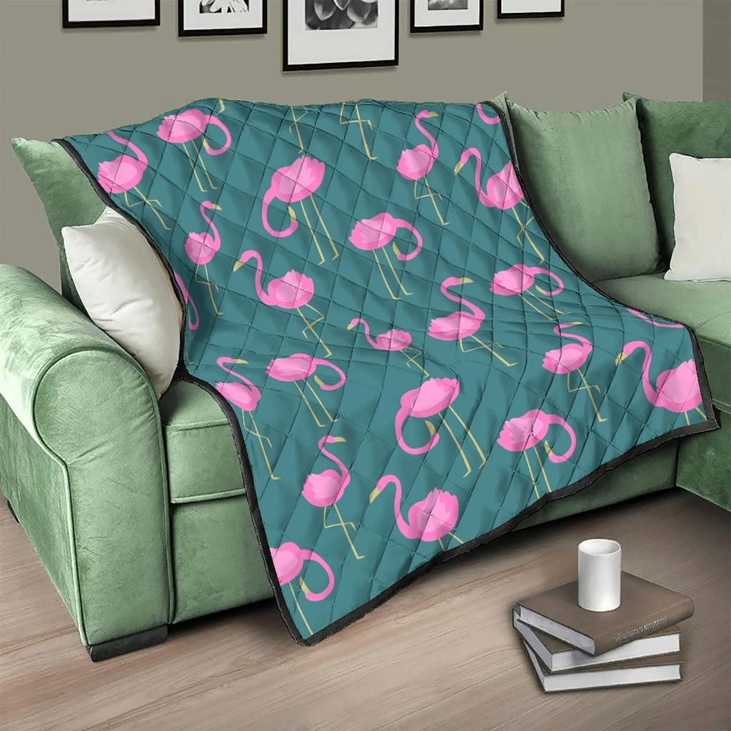 DCcphiz Quilted OFFicial site safety Throw Blanket Pink Flamingos Revers Birds Animal