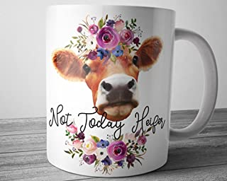 Funny Heifer Mug Not Today Heifer Watercolor Pink Floral Coffee Cup 11 Ounces Cow Lover Mug Farmer Gift