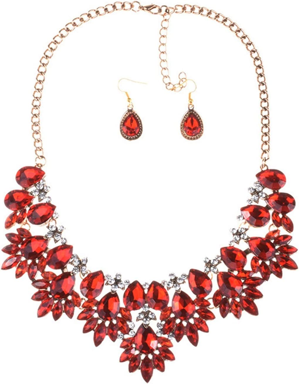 DSJTCH European or American Jewelry Fashion Elegant Boom Necklace Long Clavicle Chain Ear Ring Neck Jewelry Jewelry Set (Color : Red)