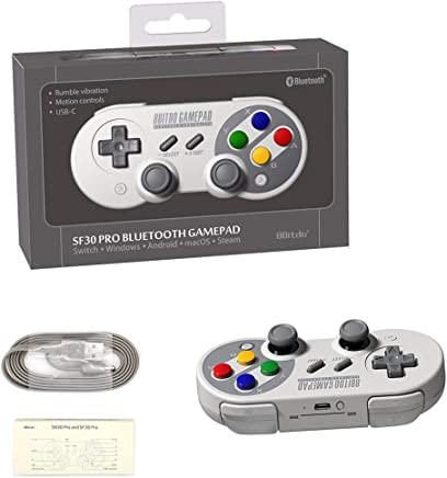 Mando para Nintendo Switch PC, 8Bitdo SF30 PRO Inalámbrico Gamepad Controller para Raspberry Pi, Android, macOS, Steam, Windows