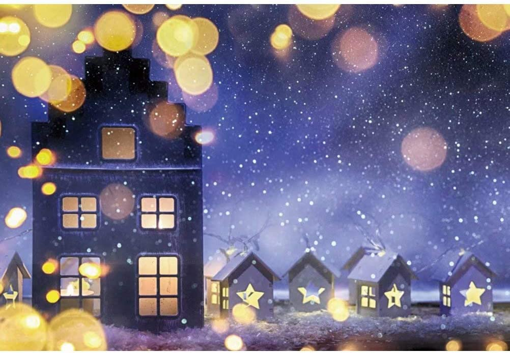 DaShan 14x10ft Christmas Winter Party Backdrop Xmas Tree Winter Night Snow Moon White Snow Cottage Photography Background Bokeh New Year Birthday Baby Shower Cake Table Decor Banner Photo Prop