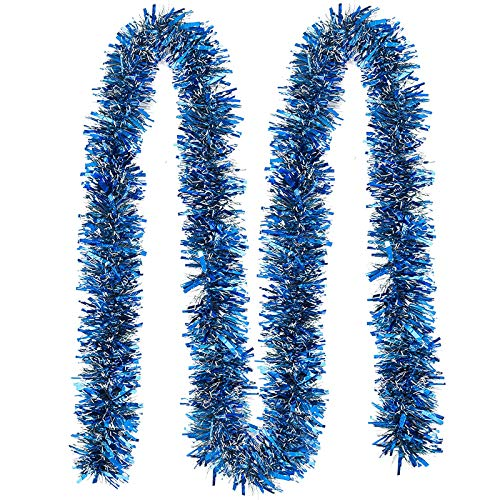 JOYIN 4 Pcs 6.6 Ft Christmas Blue Sparkly Tinsel Garland, Metallic Twist Garland for Christmas Decoration