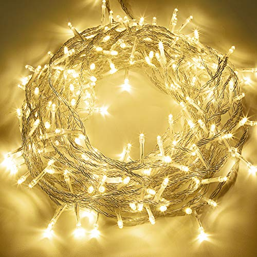 GIGALUMI 200 LED String Lights Waterproof, 23M 8 Modes Fairy String Lights, Warm White Christmas Lights for Indoor, Outdoor, Party, Wedding, Christmas Tree
