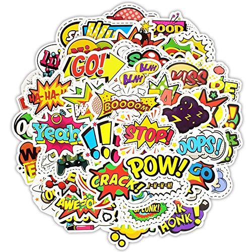 BLOUR 50pcs Pop Style Text Aufkleber Spielzeug für Kinder Kreatives Schlagwort LOL Aufkleber Gadgets Geschenk an DIY Scrapbook Laptop Koffer F5