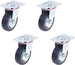 Transportwielen, meubelwielen, 4 stuks, 125 mm, gereedschapswielen, zware wielen, massief rubberen wielen met stalen velg,...