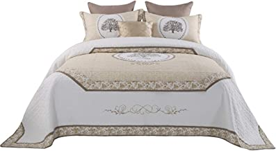 Jameswish Life Tree Quilt Set Luxury Euro Quilted Bedspread 100% Cotton 3PC Coverlet Set Classic Palace Style Bed Cover Set Embroidered Patchwork Quilt Bedding Set Queen Size