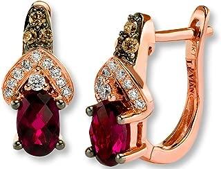 LeVian Rhodolite Garnet Chocolate and Vanilla Diamonds 1.30 cttw Earrings 14k Solid Rose Gold NEW