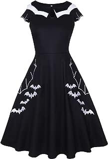 Women's Halloween Party Swing Dress Petite Bat Spider Print Embroidery
