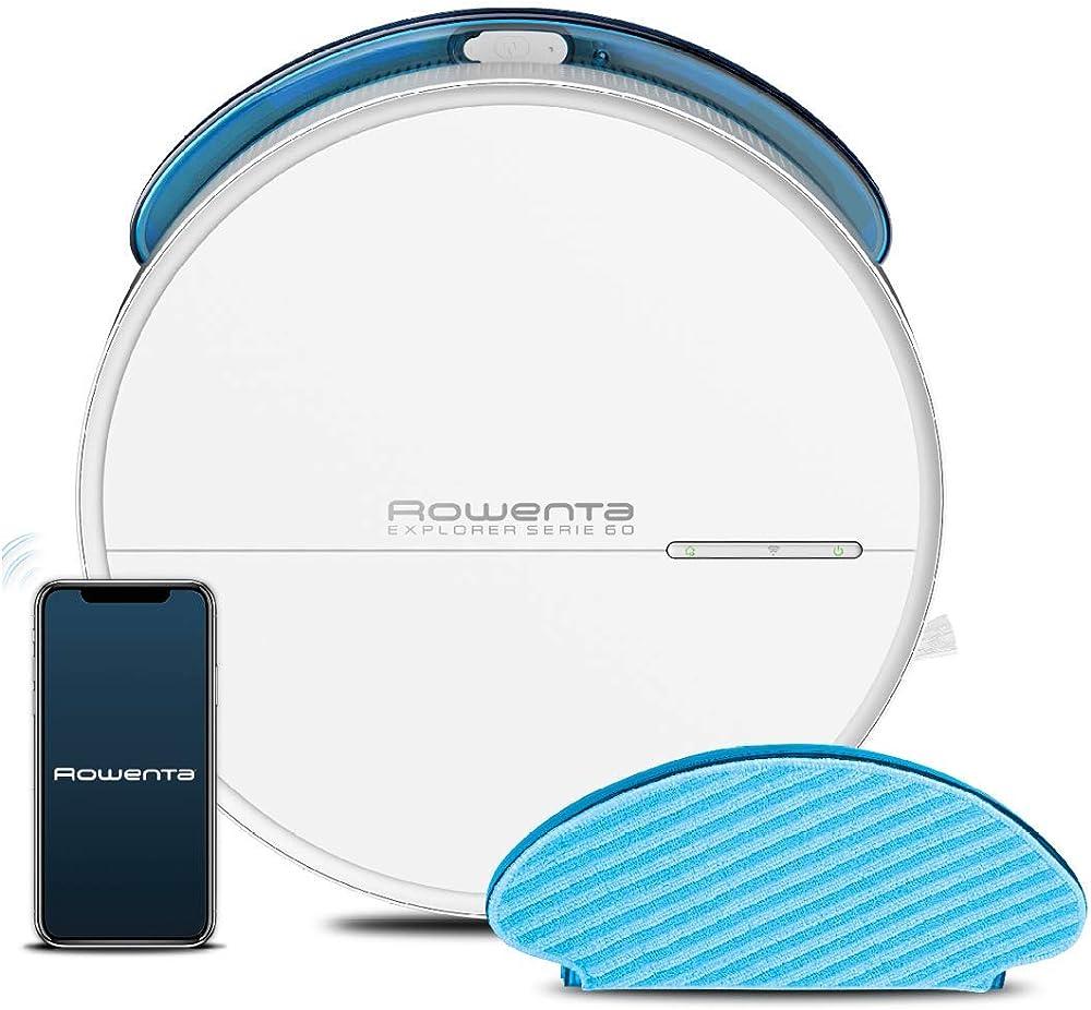 Rowenta explorer serie 60, robot aspirapolvere lavapavimenti,spazzola animal care,wi-fi RR7447WH