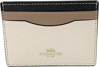 Coach Color Block Crossgrain Leather Card Case Chalk 31555