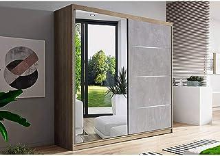 E-MEUBLES Armoire de Chambre avec 2 Portes coulissantes 1 Porte avec Miroir| Penderie (Tringle) avec étagères (LxHxP): 183...
