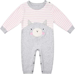 SMILING PINKER Baby Girl Boy Romper Knit Sweater Outfits Long Sleeve Cotton Striped Jumpsuit