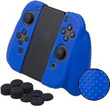 MXRC Silicone rubber STUDDED cover skin case anti-slip Customize for Nintendo Switch Joy-Con Grip controller x 1(blue) + Joy-con thumb grips x 8