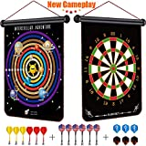Rabosky Magnetic Dart Board for Kids, Interstellar Adventure Gameplay Dart Game for Kid, Best Gift Toy for 6 7 8 9 Year Old Boys, 12 Magnetic Darts & 6 Extra Flights