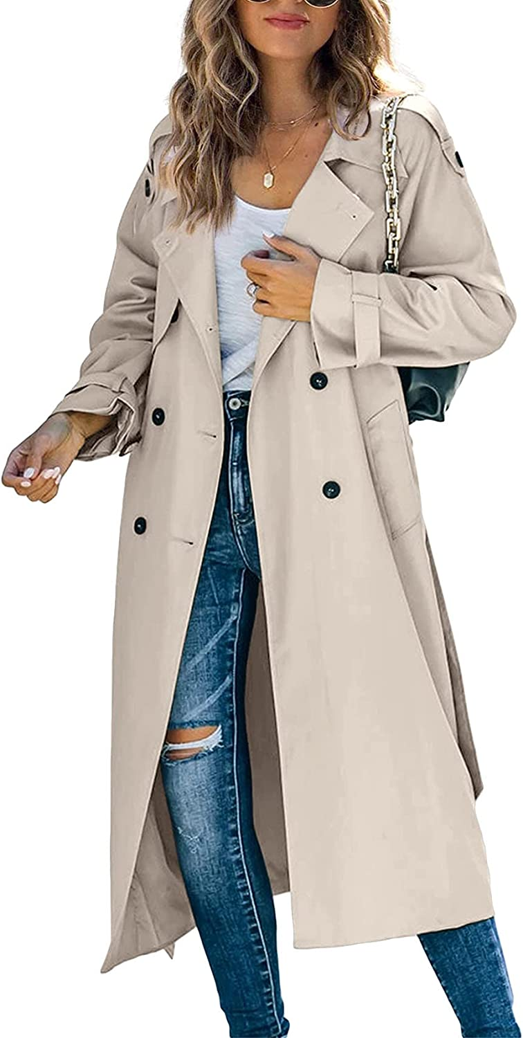 Womens Long Trench Coat Double Breasted Casual Lapel Fall 3/4-Length Windbreaker Jacket with Belt