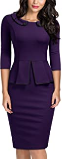 Miusol Women's Vintage 2/3 Sleeve Slim Style Evening Party Pencil Dress