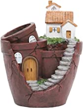Hankyky Plant Pot, Mini Garden Pot Container Pre-Lited Fairy Garden Pot with Sweet House Tabel Decor for Home Office Living Room