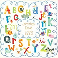 "Baby Hugs Alphabet Birth Record Counted Cross Stitch Kit-12""X12"" 14 Count (並行輸入品)"