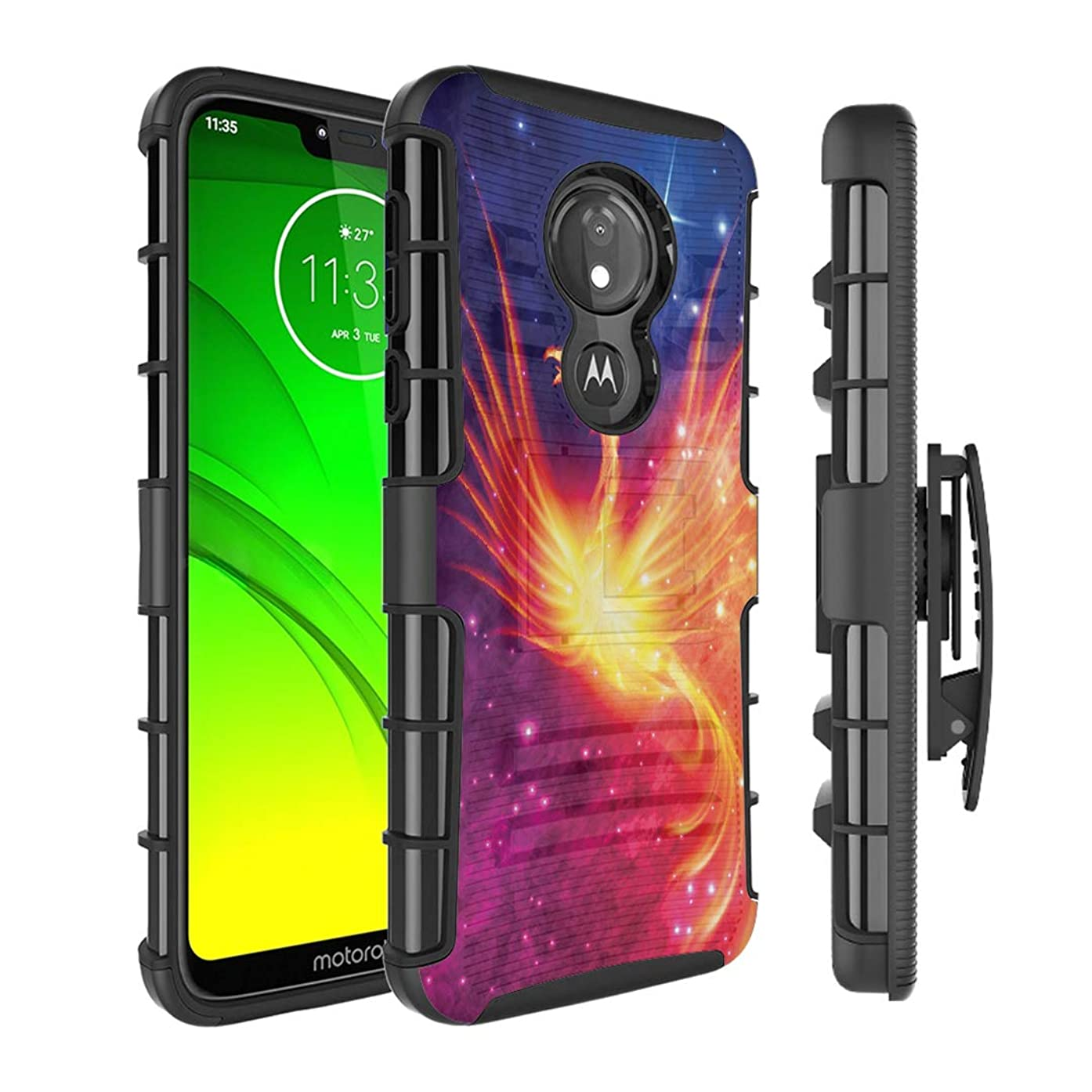 Moriko Case Compatible with Moto G7 Power, Moto G7 Supra [Kickstand Holster Combo Heavy Duty Protection Case Black] for Motorola Moto G7 Power - (Fire Phoenix)