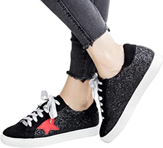 Womens Star Sneakers Fashion Glitter Platform Lace Up Low...