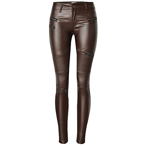 9455dcc1ce230 Ecupper Womens Faux Leather Coated Trousers Wet Look Low Waist Leggings  Stretchy Skinny Jeans