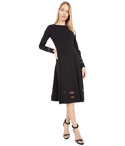 Calvin Klein Midi Dress with Illusion Detail (Black) Women