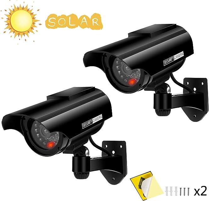 Cámara Falsa Cámara de vigilancia Falsa simulada con Bala Solar Cámara Domo CCTV de Seguridad con luz LED Intermitente para Exteriores Interiores hogar Negocios (Negro-2 Paquete)