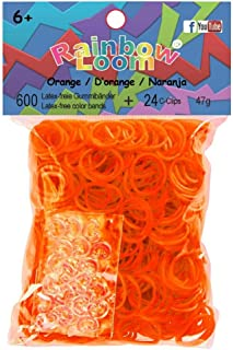 Official Rainbow Loom 600 Ct. Rubber Band Refill Pack ORANGE [Includes 25 C-Clips!]