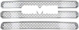 Front Grille Inserts Overlay Trim for 2013-2016 Toyota Tundra -Chrome Snap On Mesh Screen - Car, Truck, Van & Jeep Accessories