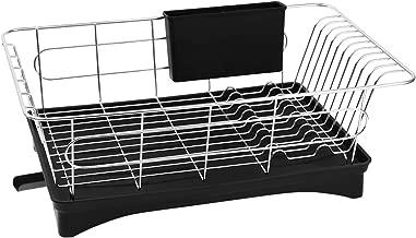 BESTONZON Stainless Steel Dish Drying Rack Utensil Organizer Tableware Holder with Draining Tray for Countertop Kitchen