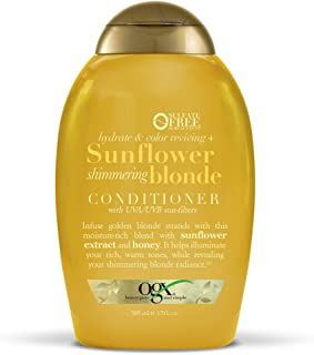 OGX Hydrate & Color Reviving + Sunflower Shimmering Blonde Conditioner with UVA/UVB Sun-Filters, 13 Ounce
