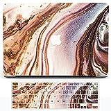 Funda para portátil de mármol compatible con MacBook Air de 13 pulgadas 2021 2020 Release A2337 M1 A2179, H2R2 Plastic Creative Wave Funda rígida carcasa con teclado de silicona – Color café