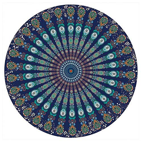 Ronde tapijt mat sjaal Mandala tapijt strand picknick gooien deken deken Bohemen Grassplot matten, donkergroen