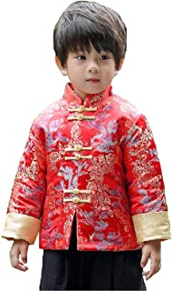 Hooyi Winter Boy Quilted Jacket Children Dragon and Phoenix Cheongsam Top Clothes Traditional Coat