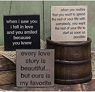 Love Story Trio - Square Desk Sign Set of 3 (When I Saw You I Fell In Love and You Smiled Because You Knew, Every Love Story is Beautiful... but Ours is My Favorite, When You Realize You Want to Spend the Rest of Your Life With Somebody, You Want the Rest of Your Life to Start As Soon As Possible)