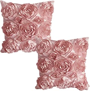WOMHOPE Set of 2 PC (Same Color) - 3D Solid Color Satin Rose Flower Square Pillowcase Bed Sofa Cushion Pillow Case Arts Decorative Cover Rose Flowers Throw Pillow Covers Protector (Pink(2 Pcs))