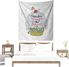 Funny Words Wall Tapestry Artful Cupcake Motif with Cherry on Top Believe in Miracles Phrase Bakery Theme Tapestry for Home Decor 54W x 72L INCH Multicolor