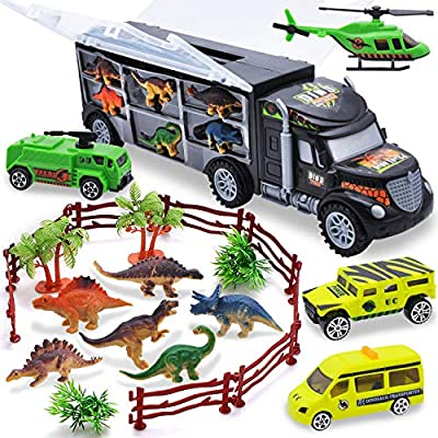 JOYIN Transporter Dinosaur Carrier Toy Truck with 6 Dinosaur Figures, Dinosaur Park Vehicle Cars, Adventure Map by Joyin Inc