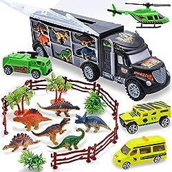 2. JOYIN Transporter Dinosaur Carrier Toy Truck Playset (24pcs)
