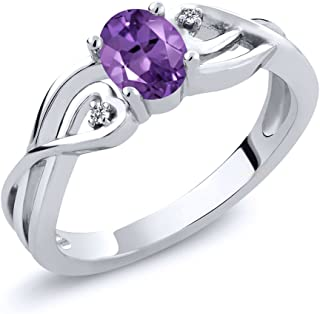 Gem Stone King 925 Sterling Silver Oval Purple Amethyst & White Diamond Women's Ring 0.36 Ctw (Available 5,6,7,8,9)