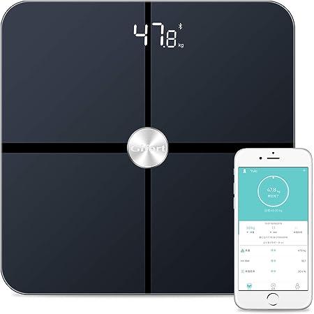 体重計 体組成計 スマホ連動 高精度iPhone/Androidアプリで管理 ITO技術 体重など多項指標 強化ガラス採用