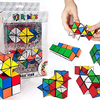Rubik's Magic Star 2-Pack Gift Set; 3D Geometric Transformation Puzzle Toys, Stress & Anxiety Relief, Brain Teaser, Addictive Fidgets For 4+ Kids, Office or Travel, Smooth Surface & Irresistible Touch