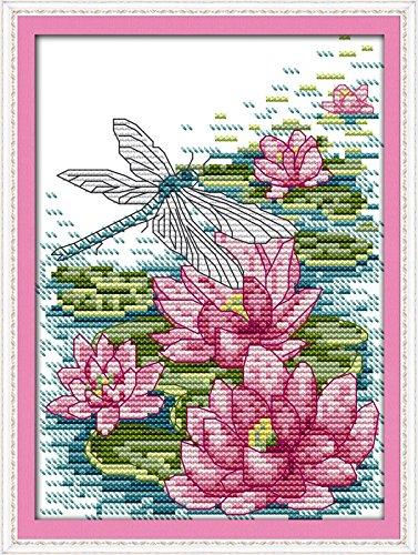 Kits de costura a mano para manualidades y manualidades de punto de cruz, bordado DMC estampado de 11 quilates para principiantes, patrón preimpreso (libélula y loto 20 × 26 cm)