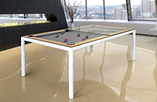 Vision Billiards Ultra Slimline Convertible Dining and Pool Table (White, Glass Top)