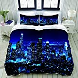 YCHY City Los Angeles Downtown Buildings at Night Skyline California American Black Studio Single Apartment Decorate Decorative Custom Design 3 PC Duvet Cover Set Queen/Full